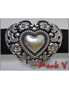 Schnalle Herz mit Rosenkranz